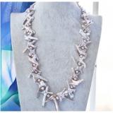 Perlový náhrdelník levandulové jezerní cross perly  NB211