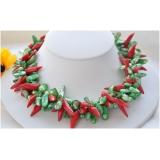 Perlový náhrdelník zelené barokní jezerní perly a červený korál NB215