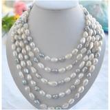 Perlový náhrdelník šedé a bílé jezerní perly 13mm NB220
