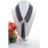 Perlový náhrdelník bílé a černé jezerní perly YY220