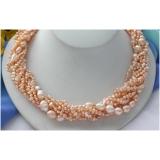 Perlový náhrdelník růžové barokní jezerní perly, 8 řad NB221