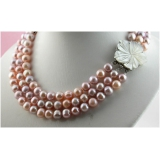 Perlový náhrdelník růžové a levandulové jezerní perly 10mm NB222