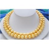 Perlový náhrdelník jezerní zlaté perly 12mm NB227