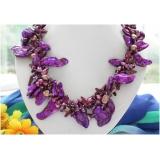 Perlový náhrdelník vínové a levandulové barokní jezerní perly NB229