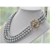 Perlový náhrdelník jezerní šedé perly 10mm, 3 řady NB233