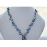 Perlový náhrdelník jezerní černé reborn keshi perly 11mm a velká barokní jezerní perla NB248