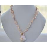 Perlový náhrdelník jezerní růžové reborn keshi perly 11mm a velká barokní jezerní perla NB249