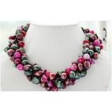 Perlový náhrdelník jezerní barevné perly a achát NB251