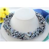 Perlový náhrdelník jezerní černé perly NB256
