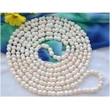 Perlový náhrdelník jezerní bílé perly dvojčata 18mm NB262