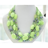 Perlový náhrdelník jezerní černé perly, křišťál a zelený tyrkys NB265