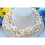 Perlový náhrdelník bílé jezerní barokní a biwa perly NB266