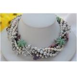 Perlový náhrdelník šedé jezerní perly, 5 řad NB273