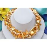 Perlový náhrdelník žluté a bílé jezerní perly a perleť NB283