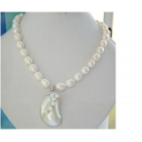 Perlový náhrdelník jezerní bílé perly a perla mabe NB302