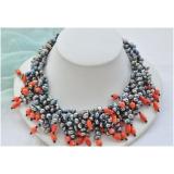 Perlový náhrdelník černé jezerní perly a korál NB311