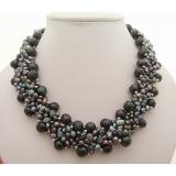 Perlový náhrdelník jezerní černé perly NB350