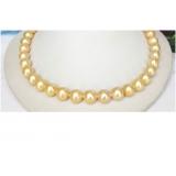 Perlový náhrdelník jezerní zlaté perly NJ8188