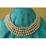Perlový náhrdelník bílé jezerní perly 8mm NB048