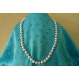 Perlový náhrdelník bílé jezerní perly 11mm NB049