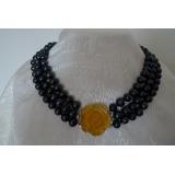Perlový náhrdelník jezerní černé perly 10mm, 3 řady EC018