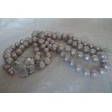 Perlový náhrdelník pravé šedé jezerní perly, 2řady  NB032