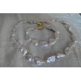 Perlový náhrdelník pravé bílé jezerní perly reborn keshi 19mm N20911