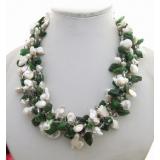 Perlový náhrdelník jezerní bílé perly, chromdiopsid a křišťál YY228