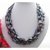 Perlový náhrdelník jezerní černé perly, křišťál a perleť YY095