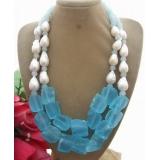 Perlový náhrdelník bílé barokní jezerní perly a modrý křišťál YY117