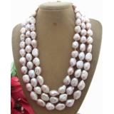 Perlový náhrdelník levandulové barokní jezerní perly 16mm YY118