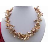 Perlový náhrdelník jezerní krémové cross perly  YY132