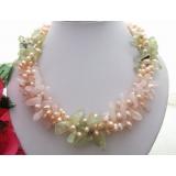 Perlový náhrdelník jezerní růžové perly, prehnit a růženín YY229