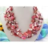 Perlový náhrdleník bílé jezerní perly a růžová perleť NB054