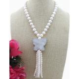 Perlový náhrdelník bílé jezerní obláčkové perly 11mm YY134