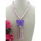 Perlový náhrdelník obláčkové jezerní levandulové perly 11mm, NB286