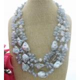 Perlový náhrdelník jezerní šedostříbrné perly a křišťál YY233