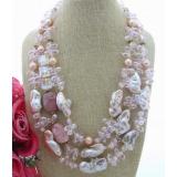 Perlový náhrdelník růžové jezerní reborn keshi perly a křišťál YY235