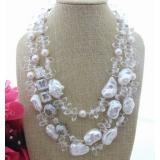 Perlový náhrdelník bílé jezerní reborn keshi perly a křišťál YY240