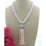 Perlový náhrdelník jezerní bílé obláčkové perly 11mm YY242