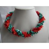 Náhrdelník zelený tyrkys a červený větvičkový korál DB028