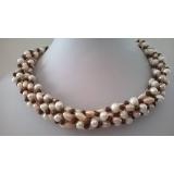 Perlový náhrdelník růžové jezerní perly a granát YY163