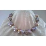 Perlový náhrdelník jezerní barokní levandulové perly 30mm, NB137Y