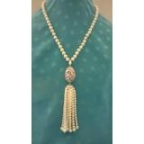 Perlový náhrdelník jezerní bílé perly 9mm YY135