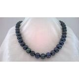 Perlový náhrdelník černé jezerní perly 14mm NB307
