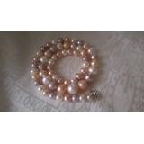 Perlový náhrdelník bílé, růžové a levandulové jezerní perly 10mm YY162