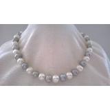 Perlový náhrdelník bílé a šedé jezerní perly 11mm NB295