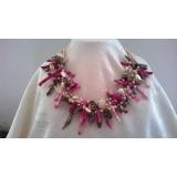 Perlový náhrdelník jezerní barevné perly, růžový korál a křišťál EC031