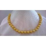 Perlový náhrdelník žluté jezerní perly 10mm EC050
