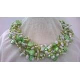 Perlový náhrdelník bílé a zelené jezerní perly YY175